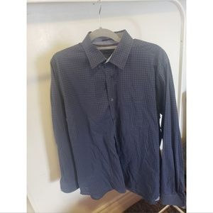 Ted Baker Blue Plaid Long Sleeve Dress Shirt